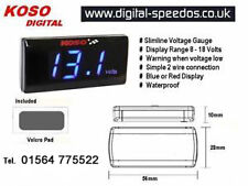 Koso Super Slim Volt Voltmeter Meter Gauge Waterproof Cars or Motorcycles Blue