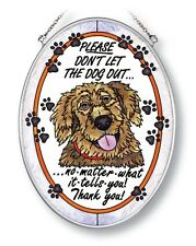 "Amia Stained Glass Suncatcher 5.5"" X 7"" Oval Don'T Let The Dog Out #5190"