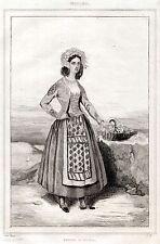 ISCHIA: COSTUME DI DONNA. Regno delle Due Sicilie. ACCIAIO. Stampa Antica. 1838