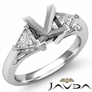 3 Stone Trillion Diamond Unique Wedding Princess Mount Ring 18k White Gold 0.5Ct