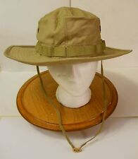 BOONIE HAT,WIDE BRIM KHAKI 50-50 NYCO RIPSTOP, MIL-SPEC. R&B, 7 1/2(LARGE)  NEW!