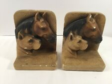 """Pair Of Vintage Chalk-Ware Horse Dog Bust Bookends ~ 6.25"""" Tall"""