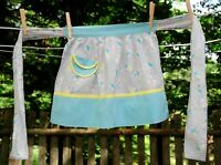 Vintage 50's Child's Half Apron Turquoise & Yellow w/ Children Playing Print