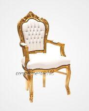 Poltrona barocco oro ecopelle bianca con strass stile Luigi