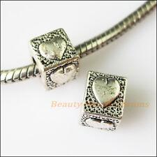4Pcs Antiqued Silver Heart Spacer Beads fit European Charm Bracelets 7x9.5mm