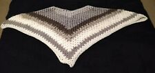 Hand Crocheted Poncho. Brown and cream tones.