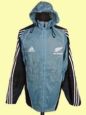 Rare Adidas ALL BLACKS Rugby Jacket Hood Retro Windbreaker Rain Coat Sz 38/40