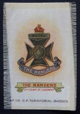 THE RANGERS 12th Original Silk Army Badge issued in 1913 100+ Years Old