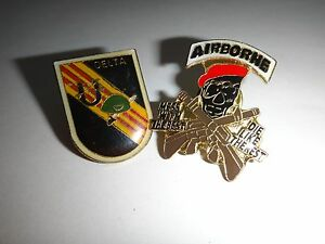 2 Metal Pins: US 5th SFG SFOD B-52 DELTA + AIRBORNE Mess With Best Die Like Rest