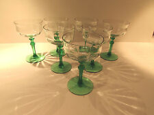 Elegant Depression Green Stem, Paneled Champagne or Martini Glass - 7 -