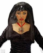 Halloween Black Widow Veil With Strass Spiders Fancy Dress Costume Accessory