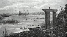 GRAVURE ANCIENNE 19e - CHASSE AU CANARD A L'AFFUT AVEC DES CANARDS APPELANTS