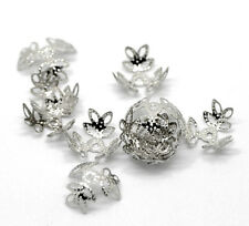 300PCs Pop Silver Tone Flower Bead Caps Findings 14x14mm(Fit 12-14mm Bead)