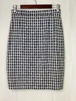 ESCADA Women's Size 36 US 6 Navy Blue White Wool Blend Plaid Tweed Pencil Skirt