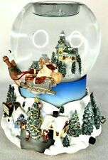 Partylite Snow Globe Santa Claus Reindeer Coming To Town Tealight Music Box Xmas