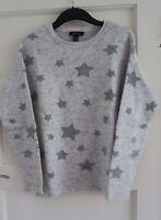 New Look Jumper S Knitwear Warm Sweater Long Sleeve Crew Neck Grey Star Pattern