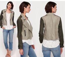 L NWT Eileen Fisher Stone Coated Organic Linen Colorblock Asymmetric Zip Jacket