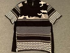 Neil Barrett Short Sleeve Shirt Sz M w/ Zippers Lightning Bolt Print Black White