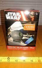 Star Wars Estrella De La Muerte USB Cargador De Coche Teléfono Celular Thinkgeek Luces, Sonidos Nuevo
