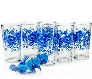 6 Tall Drinking Glasses with Blue Flowers Decal 8 fl oz Highball Tumbler Gzhel