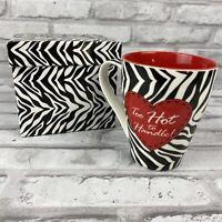 Burton & Burton Coffee Mug Zebra Stripe Too Hot To Handle Red Black White NIB