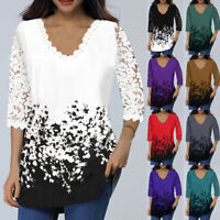Women's Lace Tops 3/4 Sleeve V Neck T Shirt Ladies Floral Blouse Tunic Plus Size