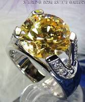 12mm YELLOW & WHITE TOURMALINE Sterling Silver 0.925 Estate Engagement RING sz 9