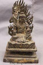 "8"" Old China Bronze Technics Japanese Buddhism Fudo Myo-o Acalanatha Buddha Stat"