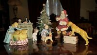 LARGE O'Well Grandeur Noel 9 piece Porcelain Christmas Morning Scene