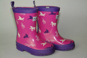 Girl's Hatley Pink Rain Boots Unicorns Purple US Sz 7 Toddler / UK Sz 6 / EU 23