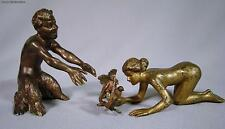 Original Antique Bergman Erotic Vienna Bronze Satyr Woman With Birds