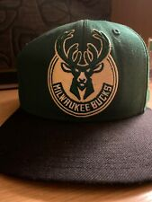 Milwaukee Bucks Basketball Mitchell & Ness Snapback Stitched Green/Blk Hat Cap