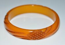 VTG Butterscotch Yellow BAKELITE TESTED Carved Crosshatch Bangle Bracelet