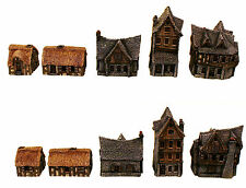 Miniature Houses Set-5-15mm Unpainted Models-Medieval Town-Village-Gaming-Garden