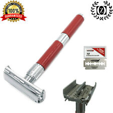 DELUXE DOUBLE EDGE BUTTERFLY OPENING SAFETY RAZOR + 10 FREE BLADES RED