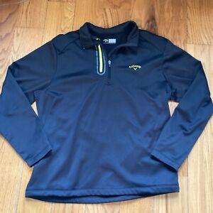 Callaway Golf Mens Fleece Pullover Jacket Sweater Large 1/4 Zip Black Excellent!