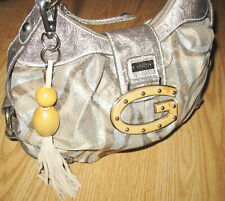 GUESS fax OSTRICH leather taupe silver WOOD logo tassel hobo bag purse SAMBA NEW