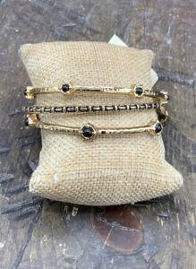 Barse Bangle Bracelets- Set of 3 -Onyx & Bronze- NWT