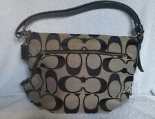 Coach Gray Black Signature Jacquard Leather Trim Shoulder Bag Purse F15067