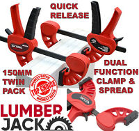 2 x Lumberjack Bar Clamps & Spreader Heavy Duty One Handed Quick Grip 150mm