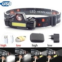 XPE COB LED Headlamp USB Rechargeable Flashlight Mini Headlight head light Torch