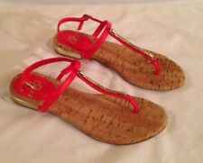 ANN TAYLOR, Deep Coral & Gold Thong Sandals, Size 6 - NEVER WORN