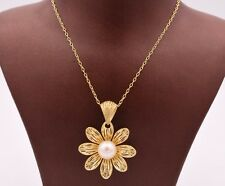 """Filigree Flower Pearl Necklace 14K Yellow Gold Clad Silver 925 QVC 18"""""""