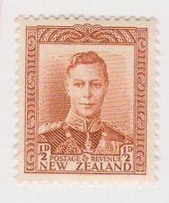 (NZK201) 1938 NZ ½d BROWN KGVI (B) MUH