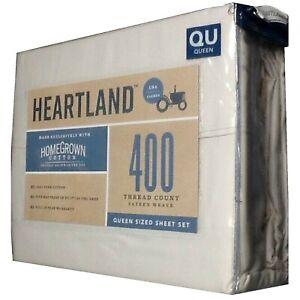 IVORY Heartland 400 TC 100% Cotton Sateen QUEEN Sheet Set NEW