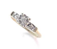 Vintage  Diamond Engagement Ring 14k Yellow & White Gold Size 5
