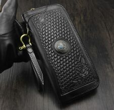 Mens Tooled Carved Flower Leather Long Wallet Zipper Clutch Purse