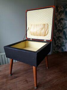 Vintage Sherborne Sewing Box Black  Orange Stool Dansette Legs Good Condition