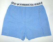 Mens American Eagle Checked Blue Boxer Shorts Size L (35/38)