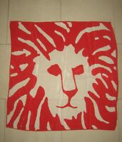 Vintage Anne Klein lion head logo in red and white silk signed 30 x 31 scarf